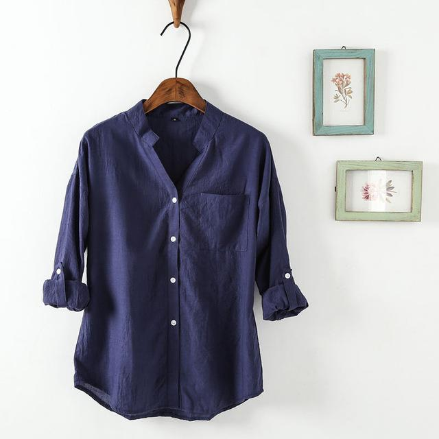 Women Korean Style Shirts Fashion V-Neck Blouse Casual Cotton Shirt Ladiesrricdress-rricdress