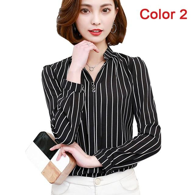 2018 New Women Spring Blouse Shirts Chiffon Long Sleeve Female Clothing Officerricdress-rricdress