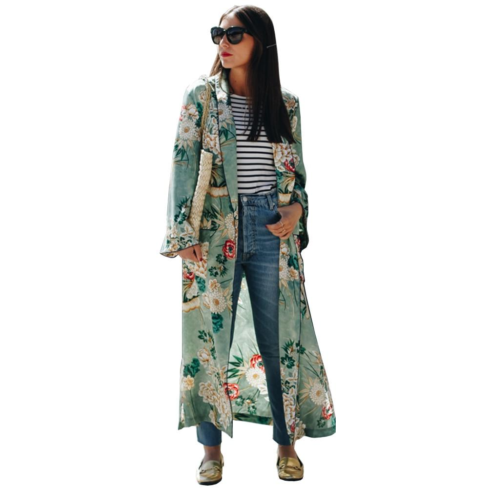 Women Ethnic Flower Print Blouse Shirt Long Kimono Women Cardigan Elegent Longrricdress-rricdress