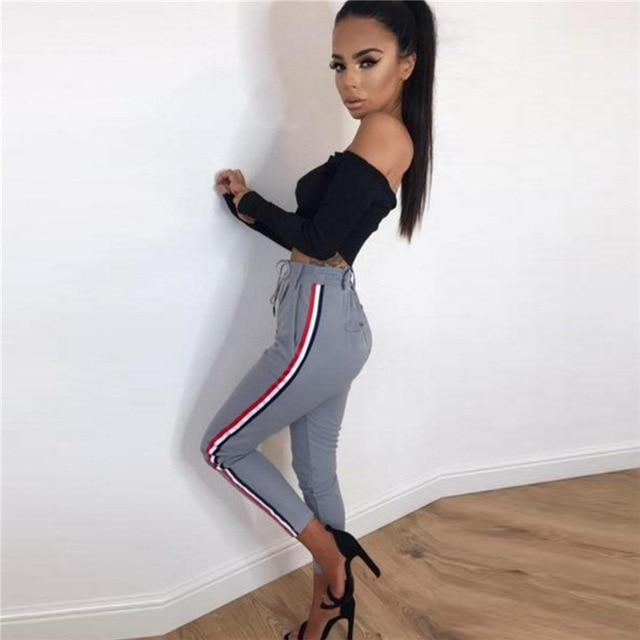Women Side Striped High Waist Pencil Pants Capris Casual Ladies Slimy Drawstringrricdress-rricdress
