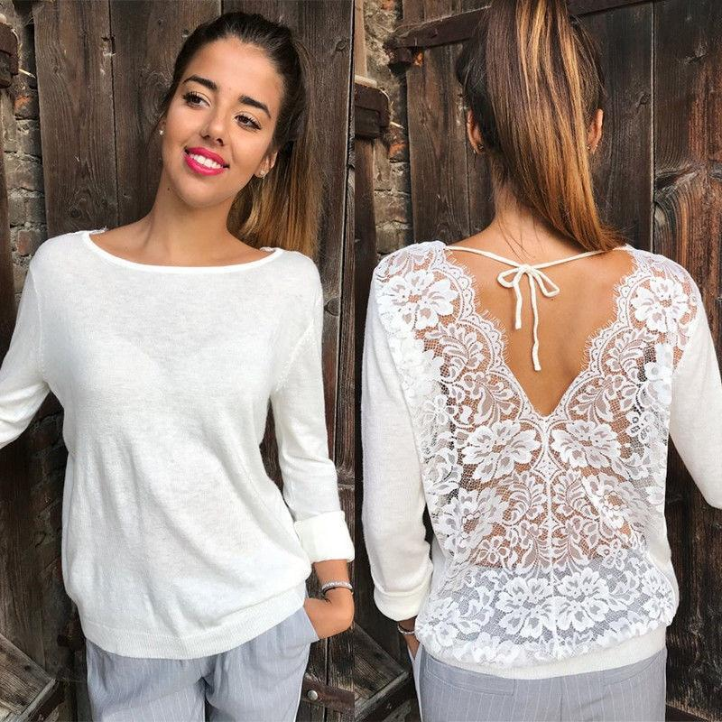 Trendy Sexy Women clothes Long Sleeve Loose Lace round neck Blousesrricdress-rricdress