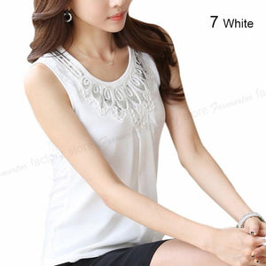 2018 Women Sleeveless Blouse Summer Chiffon Lace Top Blusas Female Clothing Women'srricdress-rricdress