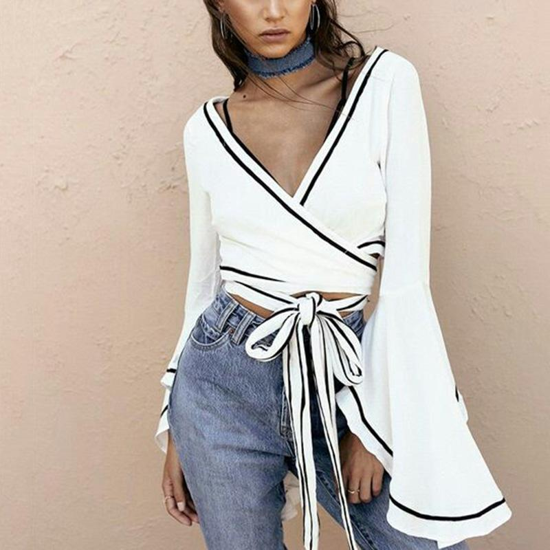 White wrap blouse Sexy v neck bell sleeve cross bandage crop topsrricdress-rricdress