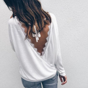 Women Autumn White Tops 2017 Chic Backless Tops Long Sleeve Ladies Blouserricdress-rricdress