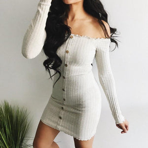 New 2018 Women Button Slim Long Sleeve Off Shoulder Cocktail Party Clubrricdress-rricdress