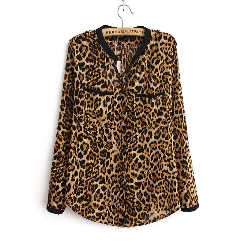 2018 Women Blouse Leopard Print Shirt Long sleeve V -Neck Top Looserricdress-rricdress