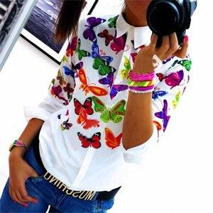 Floral/ Butterfly Printed Blouse Shirt Women Elegant White Blouse 2018 Spring Summerrricdress-rricdress