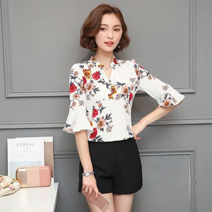 2018 Autumn Floral Chiffon Blouse Women Tops Flare Sleeve Shirt Women Ladiesrricdress-rricdress
