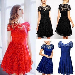 6XL Plus Size Dress Fashion Women Elegant Sweet Hallow Out Lace Dressrricdress-rricdress