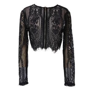 Fashion Women Slim Lace Flore Shirt Crop Tops Long Sleeve Blouserricdress-rricdress
