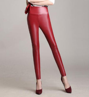 2017 Winter Women PU Leather Pants With Thin Velvet High Waist Slimrricdress-rricdress