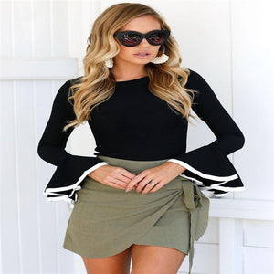 Office Lady Fashion Autumn Women Ladies Casual Long Flare Sleeve O Neckrricdress-rricdress