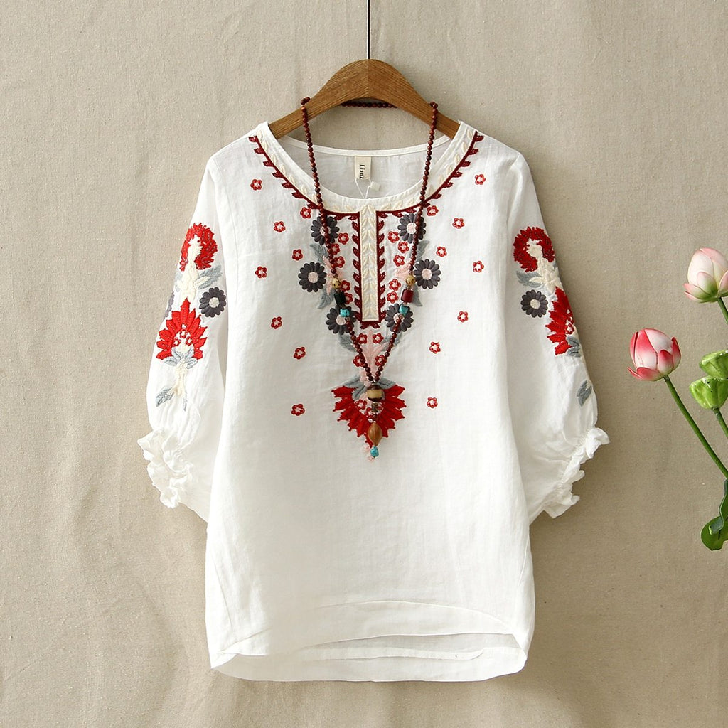 Ethnic Vintage White Floral Embroidered Blouses For Women Loose Half Lantern Sleeverricdress-rricdress