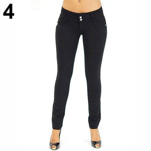 Women Sexy Solid Color Button Skinny Stretchy Leggings Treggings Pants Trousersrricdress-rricdress