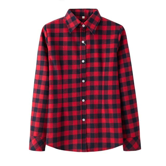 Women's Shirt 2018 New Fashion Female Classic Style Blouses Long Sleeve Flannelrricdress-rricdress