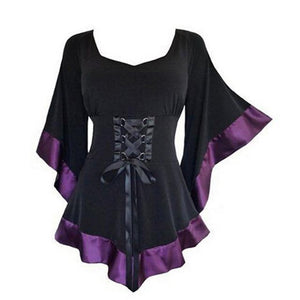 Womens Tops Tunic Long Gothic Punk Hip Hop Clothes Ladies Blouse Newrricdress-rricdress