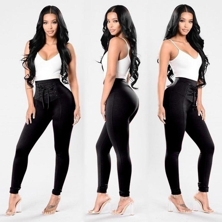 ZJFZML New arrive best quality 2018 bodycon trouser women black cross lacerricdress-rricdress