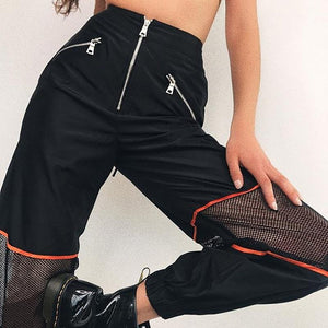 2018 Fashion Black Mesh Patchwork Zipper Jogger Pants Women Loose Casual Highrricdress-rricdress
