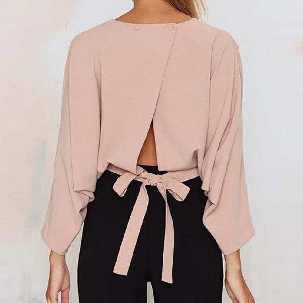 summer tops Women Sexy Bowknot Blouses Shirts Long Sleeve O neckrricdress-rricdress
