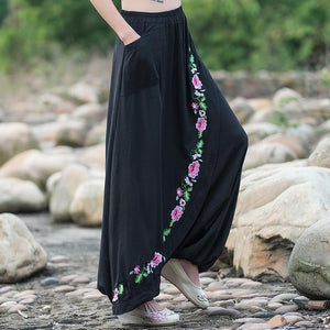 Women gypsy style long elastic waist black embroidery harem pant 2018 looserricdress-rricdress