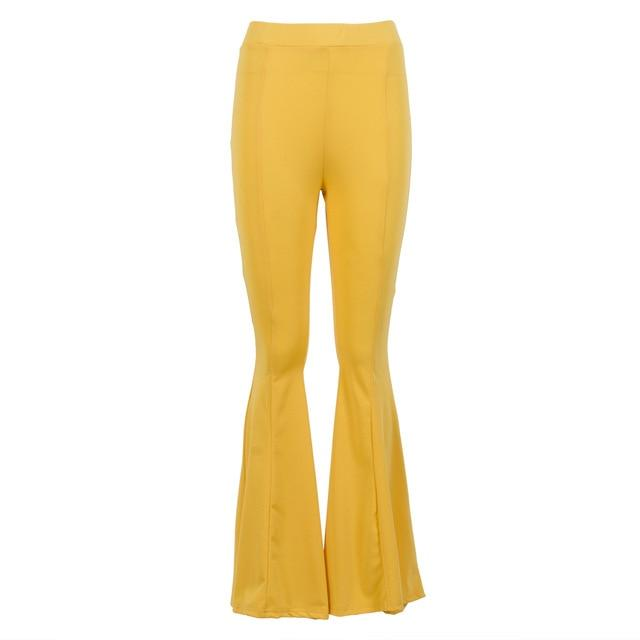 New Hot Trousers For Women Ladies Palazzo Pants Plain Flare Pants Highrricdress-rricdress