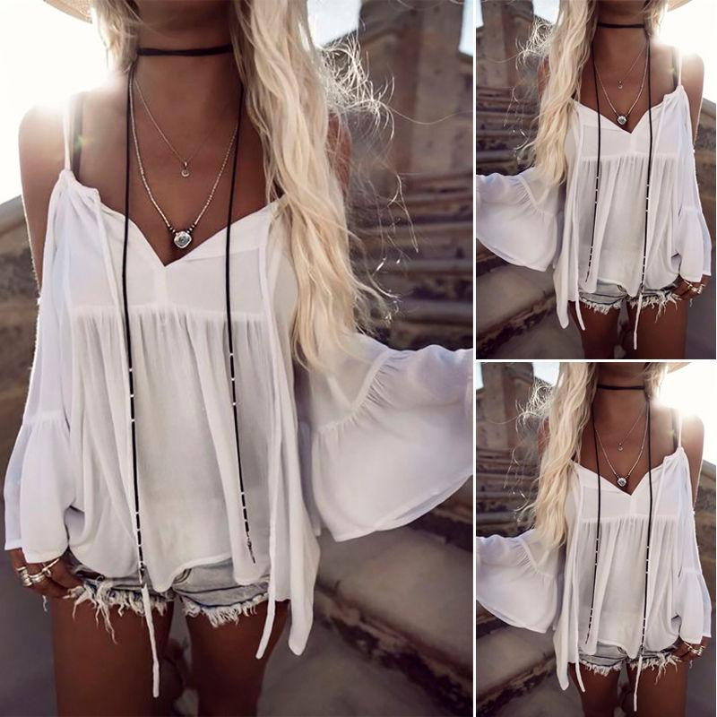 New Women Summer Blouses Loose Casual Chiffon Off Shoulder Tops Blouse Ladiesrricdress-rricdress