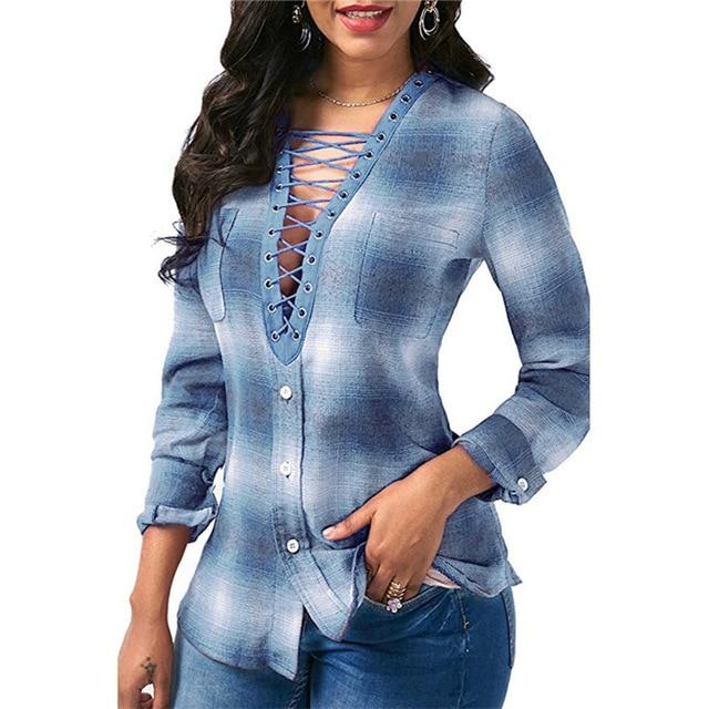 Women Blouses 2018 Spring Long sleeve Plaid Shirt Office Lady Shirts Sexyrricdress-rricdress