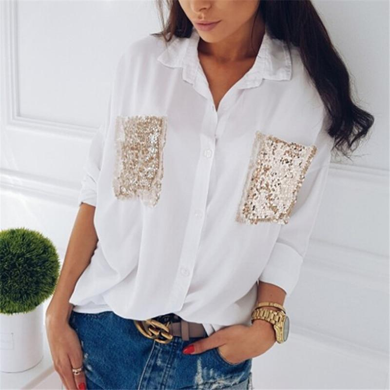 Fashion Women shirt Casual Long Sleeve Chiffon chest sequined pocket longrricdress-rricdress