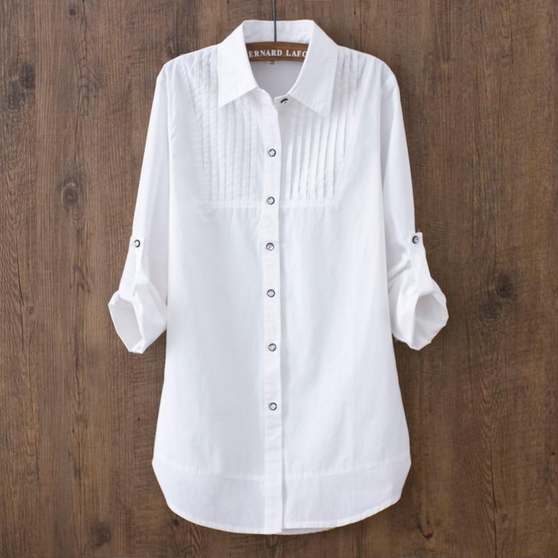 100% cotton 2018 Spring Summer Women White blouse long-sleeved slim cotton casualrricdress-rricdress