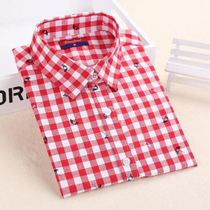 Women Plaid Shirt Red Cotton Tops Long Sleeve Blusas Red Plaidrricdress-rricdress