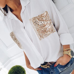 Fashion 2018 Women Ladies Long Sleeve Sequins Pockets Shirts Blouse Casual Summerrricdress-rricdress