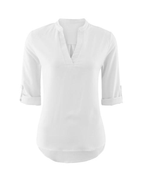 Blusas Femininas 2017 New Women V Neck Solid White Blouse Sexy ladyrricdress-rricdress