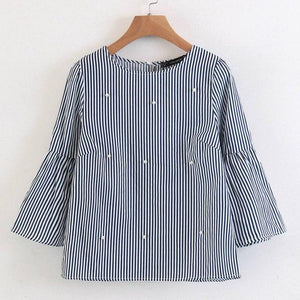 stylish pearls beading striped shirts flare sleeve cute chic three quarter sleeverricdress-rricdress