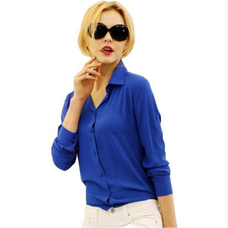 1PC Women Chiffon Blouse Long Sleeve Shirt Women Tops Office Lady Blusasrricdress-rricdress