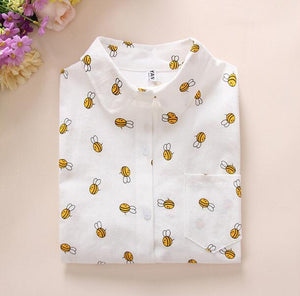 Women Cotton Shirts 2018 Spring New Long Sleeve Cartoon Print White Blousesrricdress-rricdress