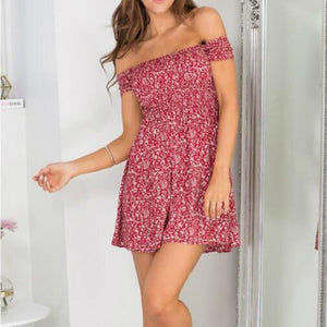 New 2018 Fashion Women Dress Short Sleeve Floral Dress Sexy Offrricdress-rricdress