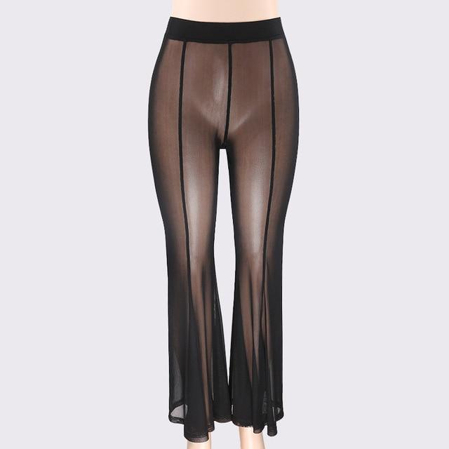 Boho Women Lady Rushed Worsted Flat Net Mesh Sexy Pants transparent Ultrarricdress-rricdress