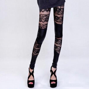 Vogue Woman's Gothic Punk Faux Leather Cut Out Lace Leggings Pants Blackrricdress-rricdress