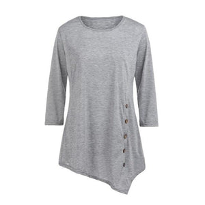 Korea Summer women's O-Neck Shirts Casual Long Sleeve Button ladies Tops solidrricdress-rricdress