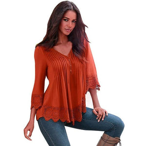 #5505 Women Lace Crochet Long Sleeve Shirt Casual Blouse Topsrricdress-rricdress