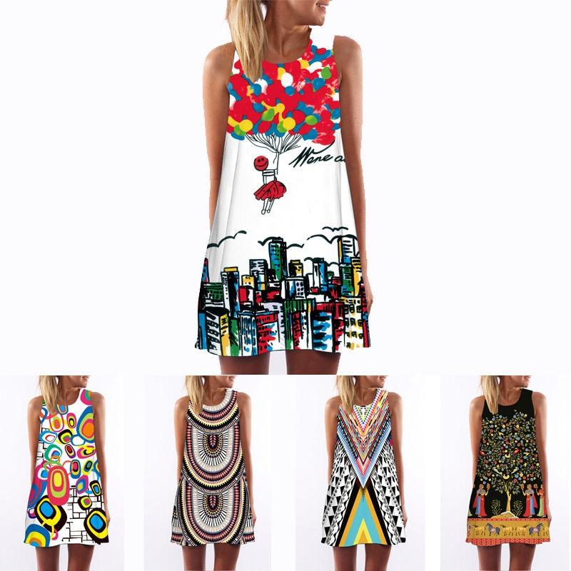 3D vintage Print summer dress bohemian beach dress summer sundresses women dressesrricdress-rricdress