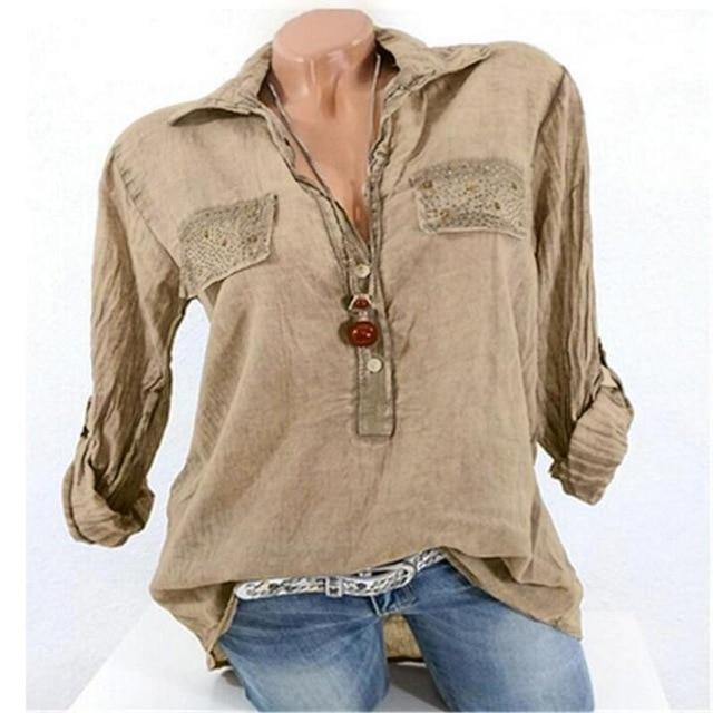Spring Women Blouse Fashion Vintage Female Casual Shirts halt Sleeve Solid Longrricdress-rricdress