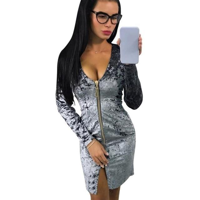 Women Spring Autumn Dress Warm Fashion Zipper Long Sleeve Velvet Dresses Partyrricdress-rricdress