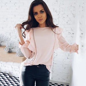 2018 Spring Women's New O-neck Long Sleeve Ruffle Tops Women Casualrricdress-rricdress