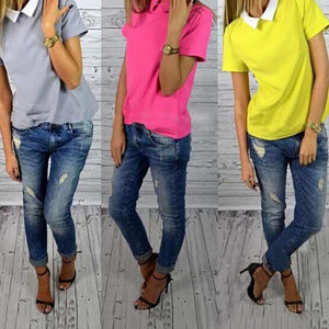 Fashion Short Sleeve Slim Shirt Doll Collar Tops Pure Color New Koreanrricdress-rricdress