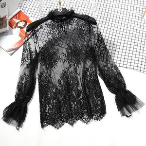 Lace See-through Women Blouse Summer Ruffled Neck Butterfly Sleeve Sexy Ladies Topsrricdress-rricdress