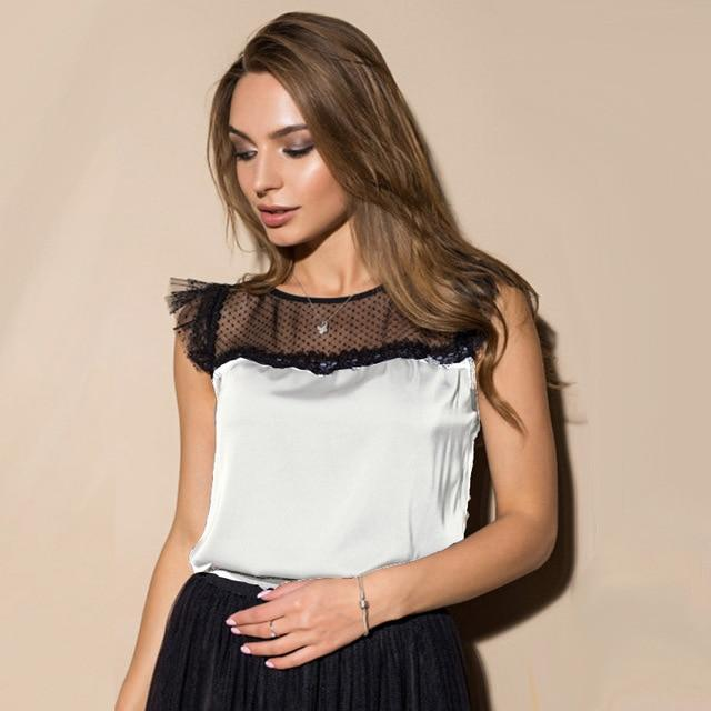Casual Ruffles Sleeve Women Shirts Blouses Lace Patchwork Sleeveless O neck Solidrricdress-rricdress