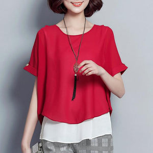 2018 Summer Blouse Women Short Sleeve Chiffon Shirt Ladies Fake Two Piecerricdress-rricdress