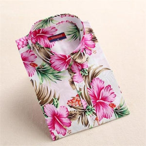 Women Summer Print Shirt Casual Floral Blouse Cotton Ladies Tops Longrricdress-rricdress