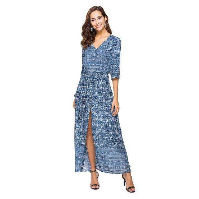 Sexy Print Long Women Dress Elegant Maxi Vintage 2018 Fashion Beach Roberricdress-rricdress